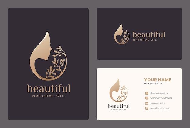Design de logotipo de mulher / azeite de beleza com modelo de cartão de visita. Vetor Premium