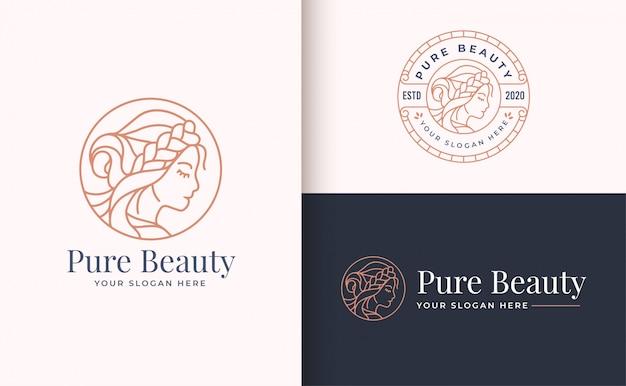 Design de logotipo de mulher beleza com distintivo do círculo Vetor Premium