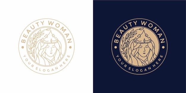 Design de logotipo de mulher bonita com estilo vintage Vetor Premium