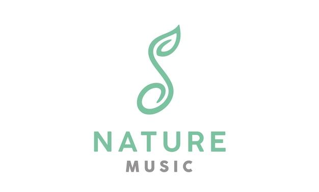 Design de logotipo de natureza musical Vetor Premium