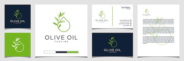 Design de logotipo de oliveira e azeite, cartões de visita e papel timbrado Vetor Premium