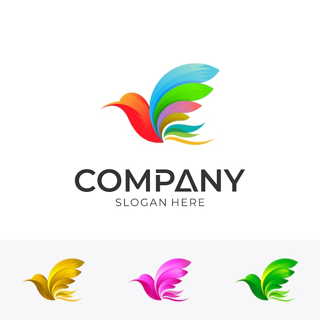 Design de logotipo de pássaro com estilo colorido Vetor Premium