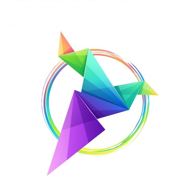 Design de logotipo de pássaro de origami colorido impressionante Vetor Premium