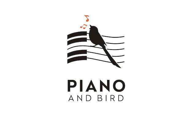 Design de logotipo de pássaro e piano Vetor Premium