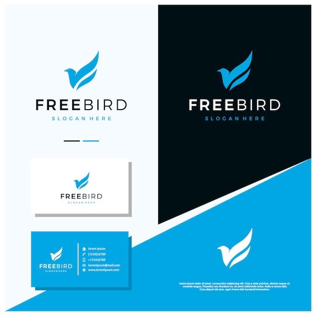 Design de logotipo de pássaro grátis, com estilo de design Vetor Premium