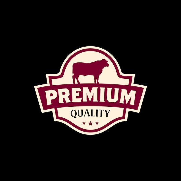 Design de logotipo de rótulo de carne de carne vintage Vetor Premium