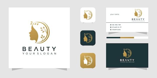 Design de logotipo de salão de beleza para mulher de beleza Vetor Premium