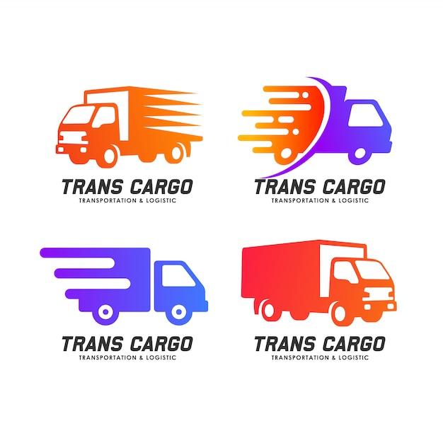 Design de logotipo de serviços de entrega de carga. elemento de design de ícone de vetor de carga trans Vetor Premium