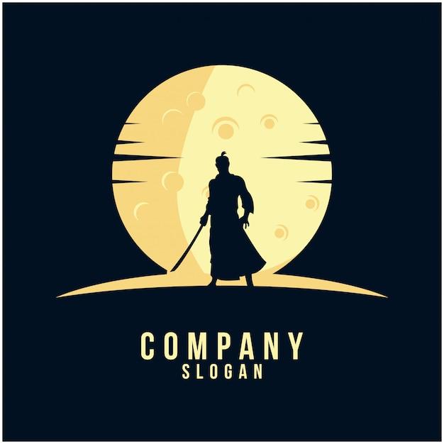 Design de logotipo de silhueta de samurai Vetor Premium