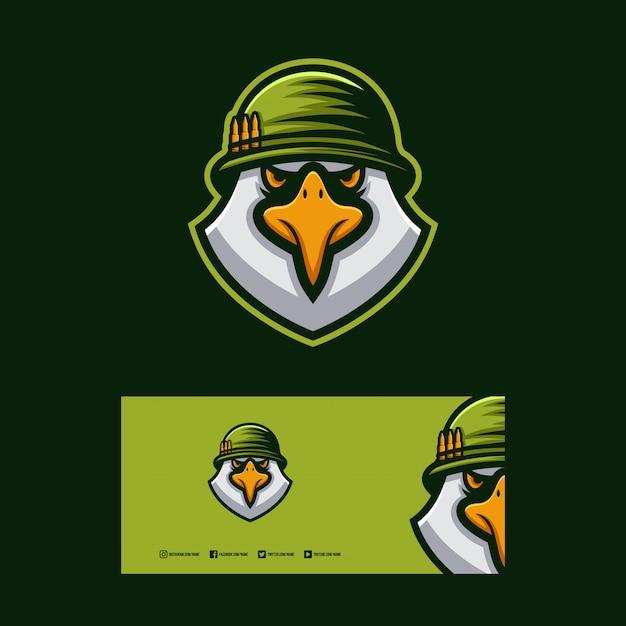 Design de logotipo de soldado de águia. Vetor Premium