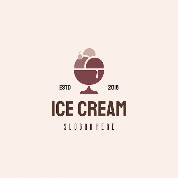 Design de logotipo de sorvete, logotipo de alimentos doces Vetor Premium