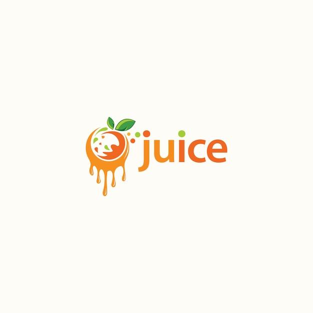 Design de logotipo de suco de fruta. logotipo de bebida fresca - vetor Vetor Premium