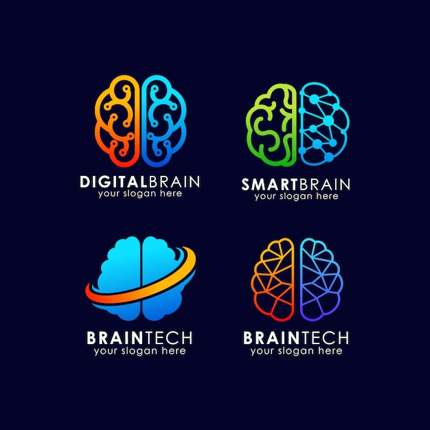Design de logotipo de tecnologia de cérebro. design de logotipo do cérebro inteligente Vetor Premium