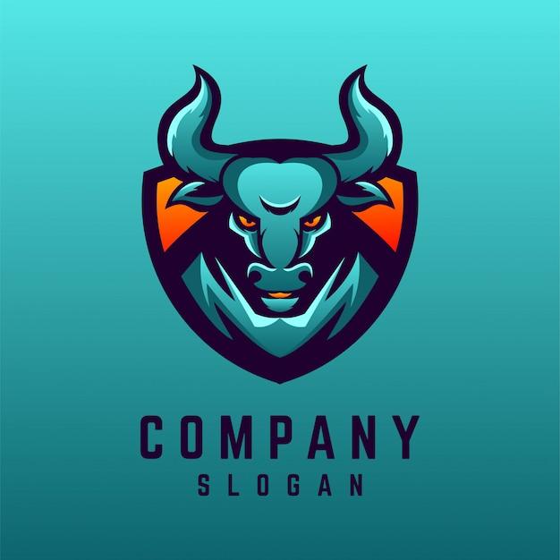 Design de logotipo de touro Vetor Premium