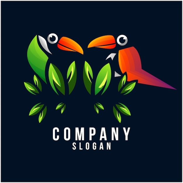 Design de logotipo de tucano Vetor Premium