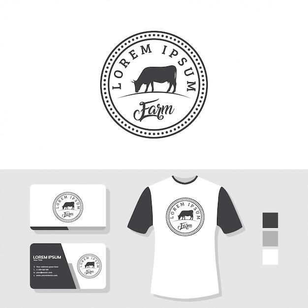 Design de logotipo de vaca com cartão de visita e camiseta maquete Vetor Premium