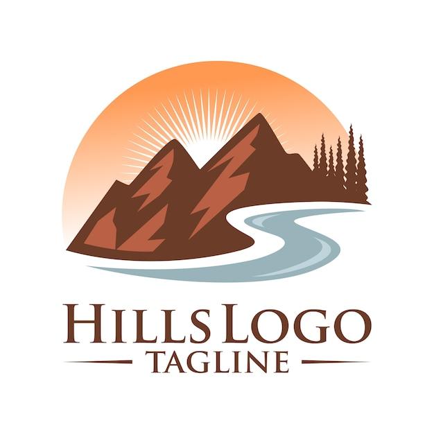 Design de logotipo de vetor de paisagem de colinas Vetor Premium