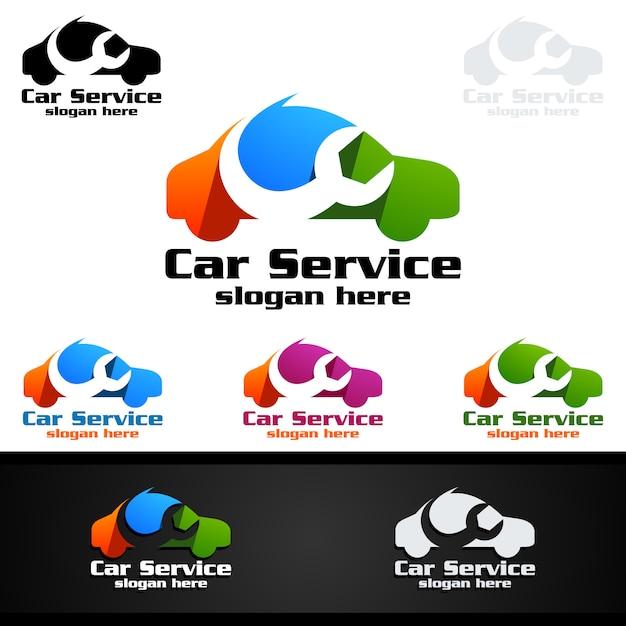 Design de logotipo de vetor de serviço de carro Vetor Premium