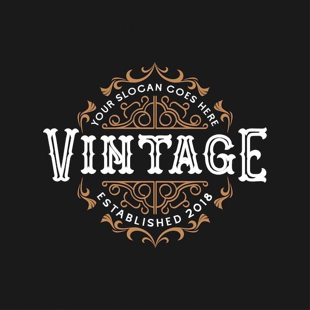 Design de logotipo do casamento do vintage Vetor Premium
