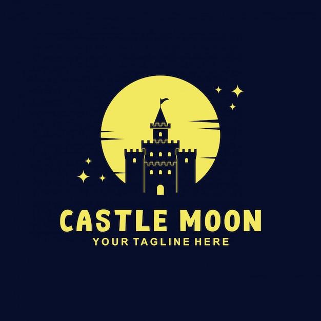 Design de logotipo do castelo com estilo simples Vetor Premium