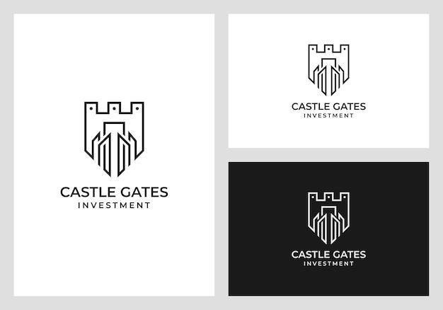 Design de logotipo do castelo no estilo de arte linha Vetor Premium