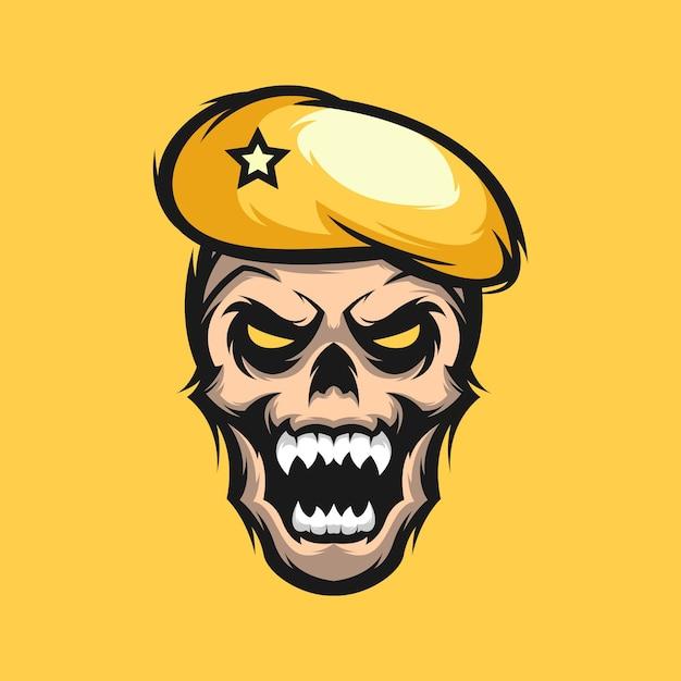 Design de logotipo do crânio Vetor Premium