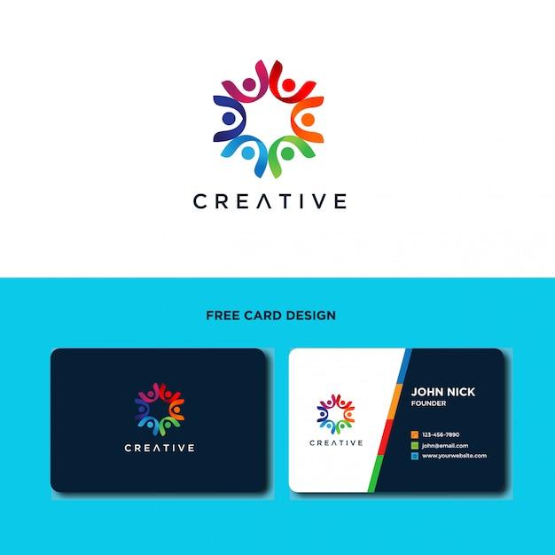 Design de logotipo do cuidado de pessoas da comunidade Vetor Premium