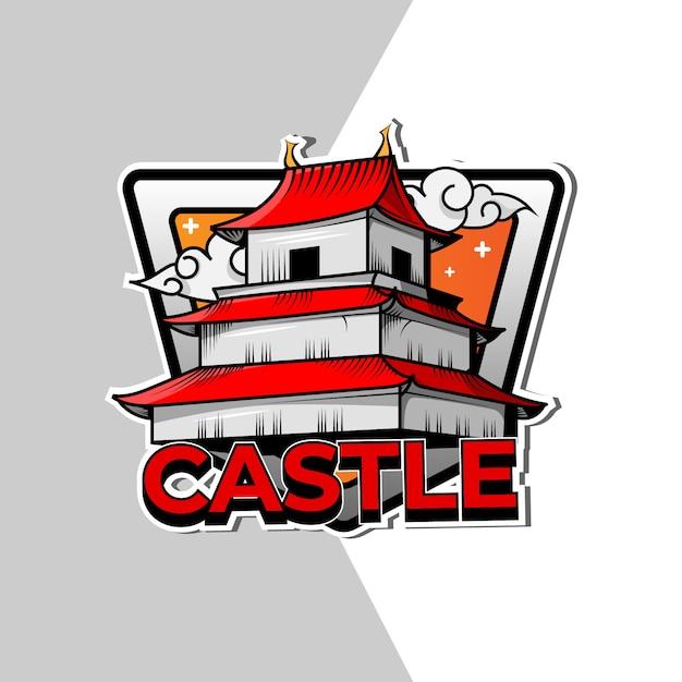 Design de logotipo do emblema do castelo japonês Vetor Premium