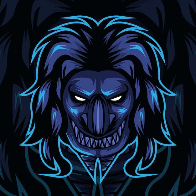 Design de logotipo do esporte de mascote demônio. Vetor Premium