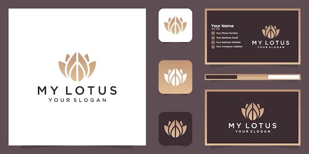 Design de logotipo do estilo de arte de linha de flor de lótus. centro de ioga, spa, logotipo de luxo do salão de beleza. design de logotipo, ícone e cartão de visita Vetor Premium
