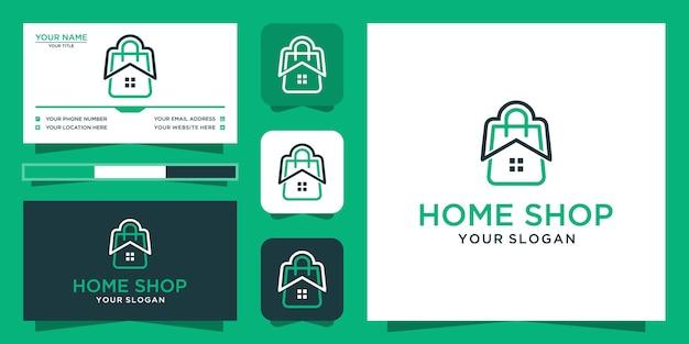 Design de logotipo e cartão de visita da loja em casa Vetor Premium