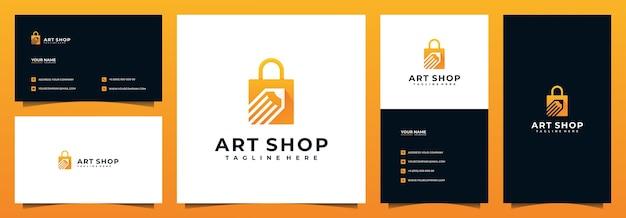 Design de logotipo e cartão de visita da loja online, com conceito de lápis e bolsa Vetor Premium