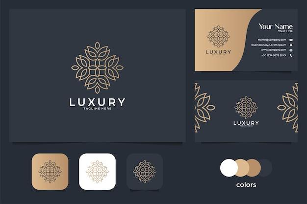 Design de logotipo e cartão de visita de arte de linha bonita de luxo. bom uso para logotipo de spa, ioga, salão, decoração e moda Vetor Premium