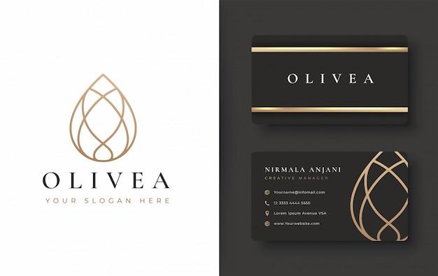 Design de logotipo e cartão de visita de gota de água / azeite Vetor Premium