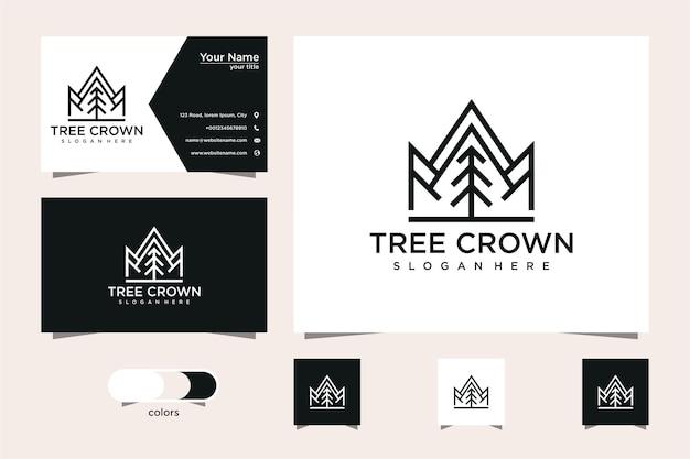 Design de logotipo e cartão de visita de pinheiro e coroa Vetor Premium