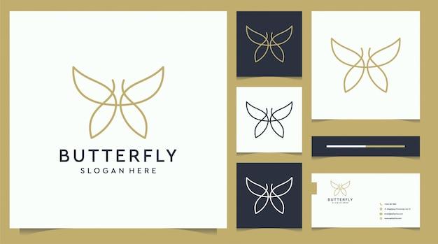 Design de logotipo e cartão de visita elegante borboleta minimalista com estilo de arte linha Vetor Premium
