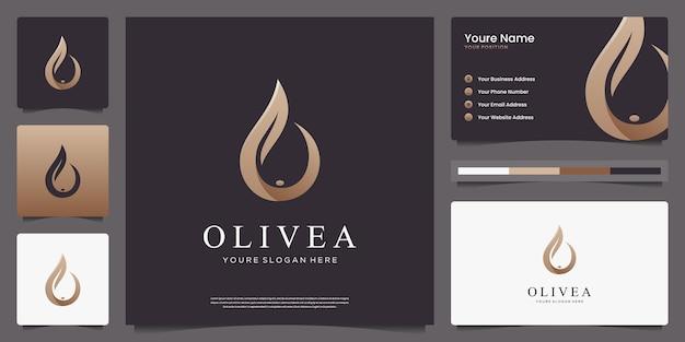 Design de logotipo e cartões de visita luxuosos da oliveira e da gota d'água. Vetor Premium