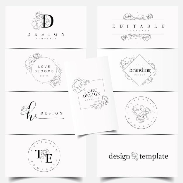 Design de logotipo editável peônia flor Vetor Premium