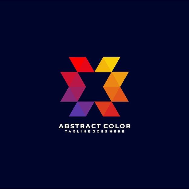 Design de logotipo em cor abstrata Vetor Premium