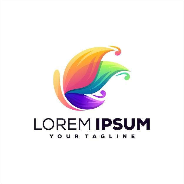Design de logotipo em gradiente de borboleta Vetor Premium