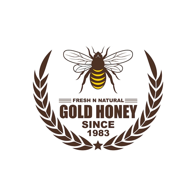 Design de logotipo, emblemas, banners, anúncios de mídia social e etiquetas para produtos de mel Vetor Premium