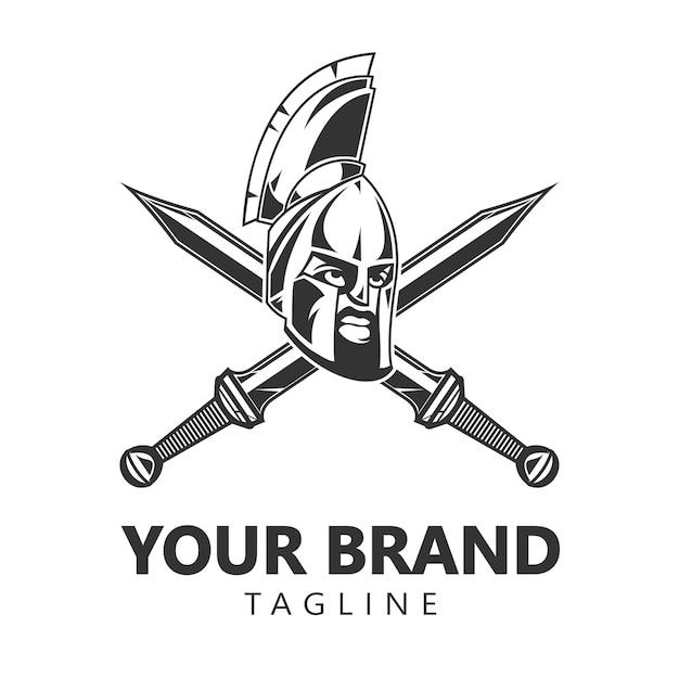 Design de logotipo espartano guerreiro capacete Vetor Premium