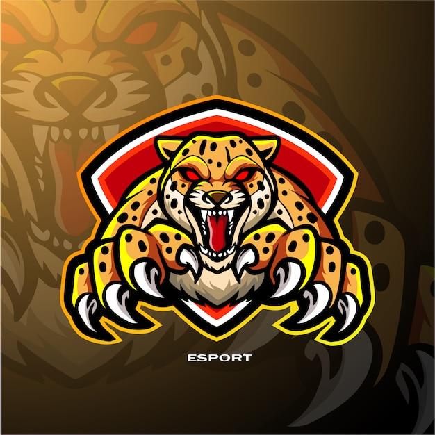 Design de logotipo esport chita mascote Vetor Premium