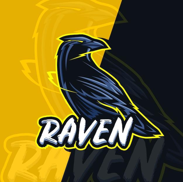Design de logotipo esport corvo mascote Vetor Premium