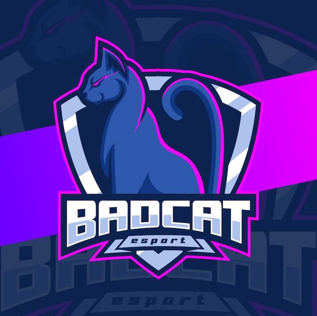 Design de logotipo esport de mascote de gato ruim Vetor Premium