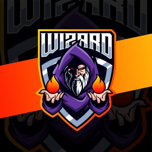Design de logotipo esport de mascote velho assistente Vetor Premium