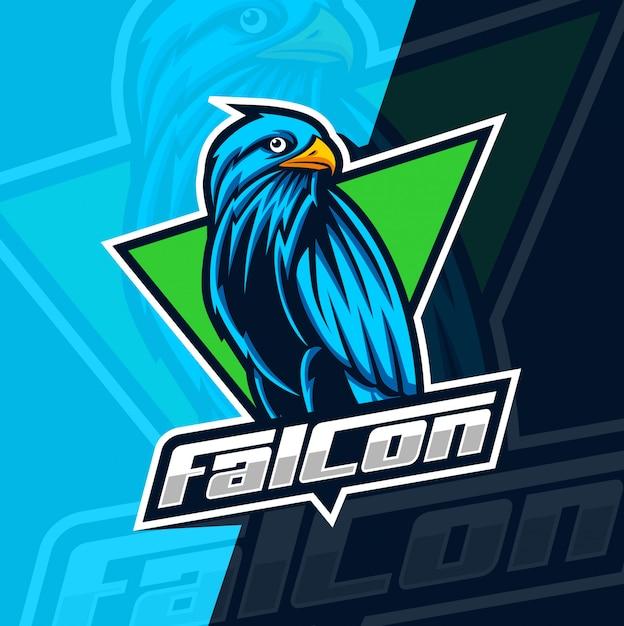 Design de logotipo esport falcão mascote Vetor Premium