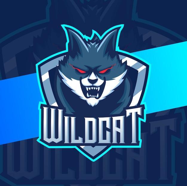 Design de logotipo esport gato mascote selvagem Vetor Premium