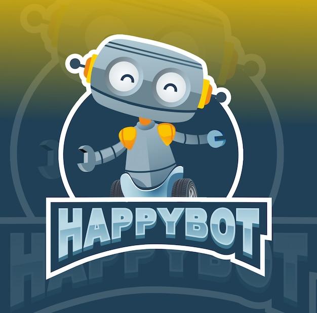 Design de logotipo feliz robô mascote Vetor Premium