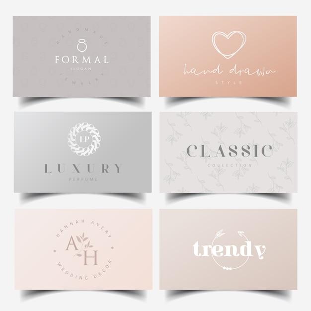Design de logotipo feminino editável e modelos de cartão de visita Vetor Premium